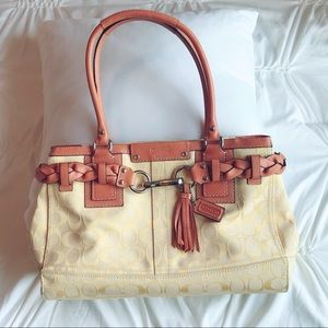 Coach Purse - Yellow with Tan accents